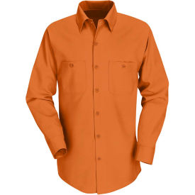 Red Kap® Men's Industrial Work Shirt Long Sleeve Orange Regular-XL SP14