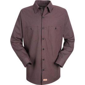 Red Kap® Men's Durastripe Work Shirt Charcoal/Red Twin Stripe Long-L SP14-SP14RCLNL