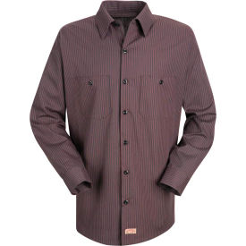 Red Kap® Men's Durastripe Work Shirt Charcoal/Red Twin Stripe Long-XL SP14-SP14RCLNXL