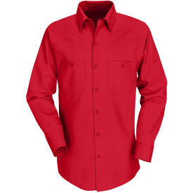 Red Kap® Men's Industrial Work Shirt Long Sleeve Red Regular-L SP14