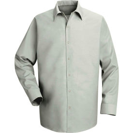 Red Kap® Men's Specialized Pocketless Polyester Work Shirt Long Sleeve Light Gray Reg-S SP16
