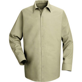 Red Kap® Men's Specialized Pocketless Polyester Work Shirt Long Sleeve Light Tan Long-L SP16
