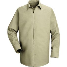 Red Kap® Men's Specialized Pocketless Polyester Work Shirt Long Sleeve Light Tan Reg-XL SP16