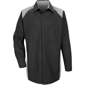 Red Kap® Men's Motorsports Shirt Long Sleeve Regular-5XL Silver/Black SP18