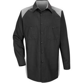 Red Kap® Men's Motorsports Shirt Long Sleeve Regular-2XL Silver/Black SP18