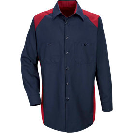 Red Kap® Men's Motorsports Shirt Long Sleeve Regular-S Red/Navy SP18