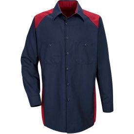 Red Kap® Men's Motorsports Shirt Long Sleeve Regular-2XL Red/Navy SP18