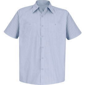 Red Kap® Men's Industrial Stripe Work Shirt Short Sleeve Light Blue/Navy Stripe Long-2XL SP20