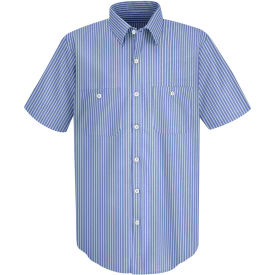 Red Kap® Men's Industrial Stripe Work Shirt Short Sleeve GM Blue/White Stripe Long-M SP20
