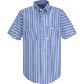 Red Kap® Men's Industrial Stripe Work Shirt Short Sleeve GM Blue/White Stripe Long-2XL SP20