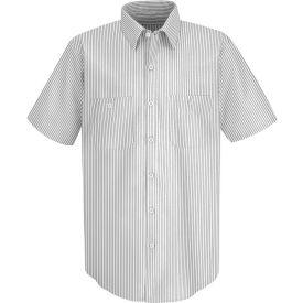 Red Kap® Men's Industrial Stripe Work Shirt Short Sleeve White/Charcoal Stripe Long-3XL SP20