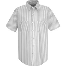 Red Kap® Men's Industrial Stripe Work Shirt Short Sleeve White/Charcoal Stripe Long-M SP20