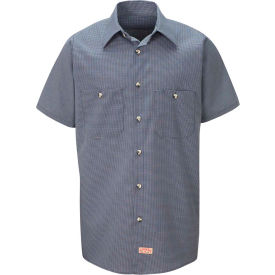 Red Kap® Men's Micro-Check Uniform Shirt Short Sleeve Blue/Charcoal Check Long-5XL SP20