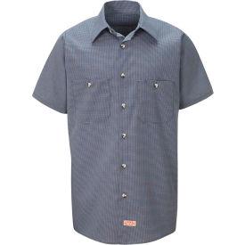 Red Kap® Men's Micro-Check Uniform Shirt Short Sleeve Blue/Charcoal Check Long-XL SP20
