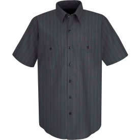 Red Kap® Men's Industrial Stripe Work Shirt Short Sleeve Charcoal Blue/White Stripe L SP20