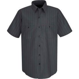 Red Kap® Men's Industrial Stripe Work Shirt Short Sleeve Charcoal Blue/White Stripe L SP20