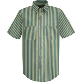 Red Kap® Men's Industrial Stripe Work Shirt Short Sleeve Green/Khaki Stripe L SP20