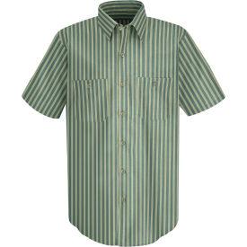 Red Kap® Men's Industrial Stripe Work Shirt Short Sleeve Green/Khaki Stripe Long-XL SP20