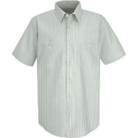 Red Kap® Men's Industrial Stripe Work Shirt Short Sleeve White/Green Stripe Long-L SP20