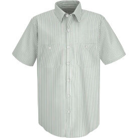 Red Kap® Men's Industrial Stripe Work Shirt Short Sleeve White/Green Stripe Long-2XL SP20