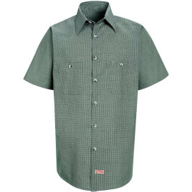 Red Kap® Men's Micro-Check Uniform Shirt Short Sleeve Hunter/Khaki  Check 5XL SP20