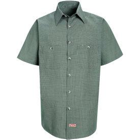 Red Kap® Men's Micro-Check Uniform Shirt Short Sleeve Hunter/Khaki  Check M SP20