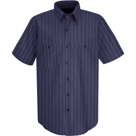 Red Kap® Men's Industrial Stripe Work Shirt Short Sleeve Blue with Brown/White Stripe 2XL SP20