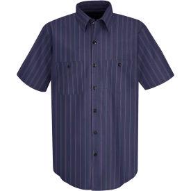 Red Kap® Men's Industrial Stripe Work Shirt Short Sleeve Blue with Brown/White Stripe 2XL SP20