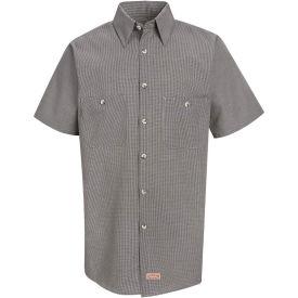 Red Kap® Men's Micro-Check Uniform Shirt Short Sleeve Khaki/Black Check Long-L SP20