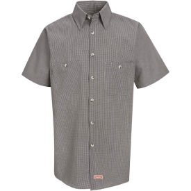 Red Kap® Men's Micro-Check Uniform Shirt Short Sleeve Khaki/Black Check Long-XL SP20