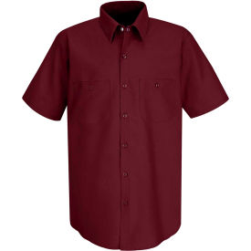 Red Kap® Men's Industrial Work Shirt Short Sleeve Burgundy XL SP24
