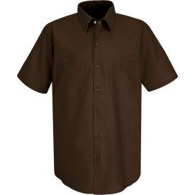 Red Kap® Men's Industrial Work Shirt Short Sleeve Chocolate Brown M SP24