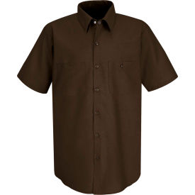 Red Kap® Men's Industrial Work Shirt Short Sleeve Chocolate Brown XL SP24