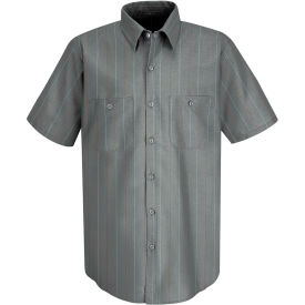 Red Kap® Men's Industrial Stripe Work Shirt Short Sleeve Charcoal/Red/White Stripe 3XL SP24