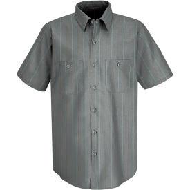 Red Kap® Men's Industrial Stripe Work Shirt Short Sleeve Charcoal/Red/White Stripe L SP24
