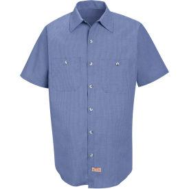 Red Kap® Men's Geometric Micro-Check Work Shirt Denim Blue Microcheck 3XL SP24-SP24DNSS3XL