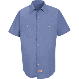 Red Kap® Men's Geometric Micro-Check Work Shirt Denim Blue Microcheck S SP24-SP24DNSSS
