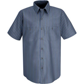 Red Kap® Men's Industrial Stripe Work Shirt Short Sleeve Gray/Blue Stripe Long-L SP24