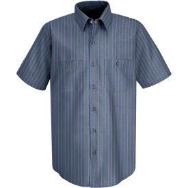 Red Kap® Men's Industrial Stripe Work Shirt Short Sleeve Gray/Blue Stripe Long-M SP24