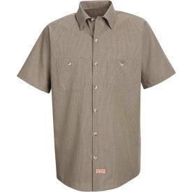 Red Kap® Men's Geometric Micro-Check Work Shirt Khaki/Black Microcheck XL SP24-SP24KBSSXL