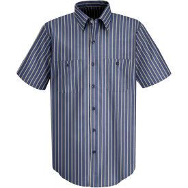 Red Kap® Men's Industrial Stripe Work Shirt Short Sleeve Navy/Khaki Stripe 2XL SP24