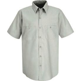 Red Kap® Men's Industrial Work Shirt Short Sleeve Light Gray Long-3XL SP24