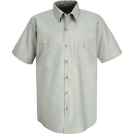 Red Kap® Men's Industrial Work Shirt Short Sleeve Light Gray Long-XL SP24