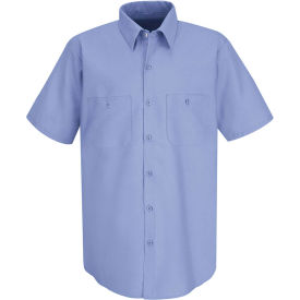 Red Kap® Men's Industrial Work Shirt Short Sleeve Light Blue Long-3XL SP24