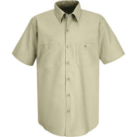 Red Kap® Men's Industrial Work Shirt Short Sleeve Light Tan 5XL SP24