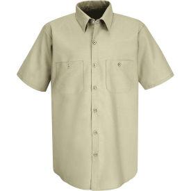 Red Kap® Men's Industrial Work Shirt Short Sleeve Light Tan Long-XL SP24