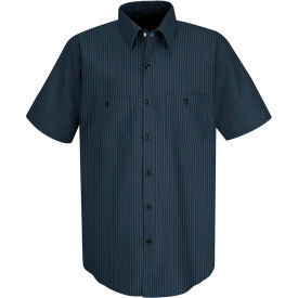 Red Kap® Men's Durastripe Work Shirt Navy/Light Blue Twin Stripe 2XL SP24-SP24NLSSXXL