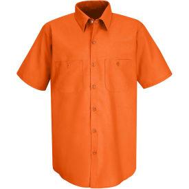 Red Kap® Men's Industrial Work Shirt Short Sleeve Orange XL SP24