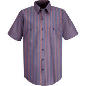 Red Kap® Men's Industrial Stripe Work Shirt Short Sleeve Navy/Red Stripe 4XL SP24