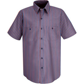 Red Kap® Men's Industrial Stripe Work Shirt Short Sleeve Navy/Red Stripe Long-L SP24